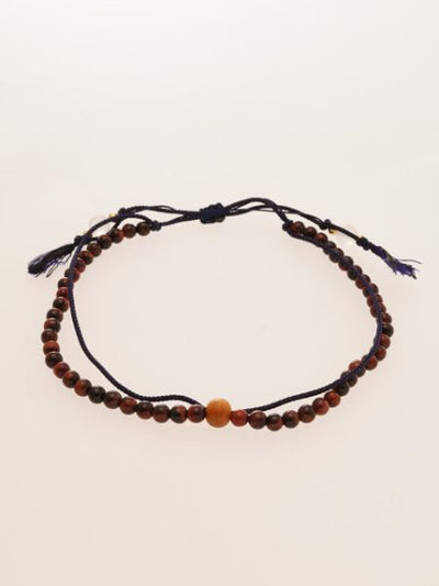 Silk Code Braided Anklet with Red Tiger Eye-Anklets-Ametsuchi