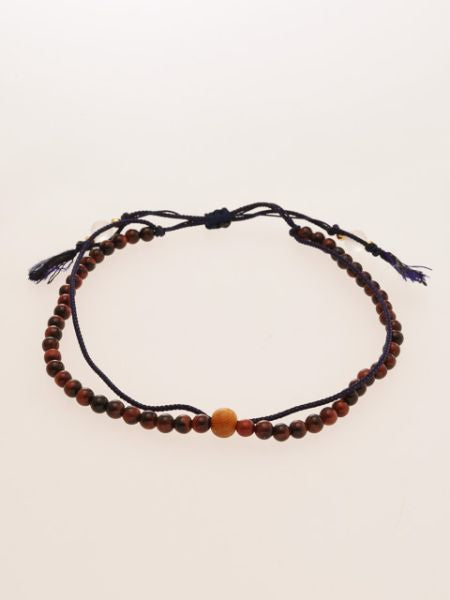 Silk Code Braided Anklet with Red Tiger Eye