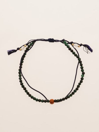 Silk String KUMIHIMO Braid Anklet Green Tiger Eye-Anklets-Ametsuchi