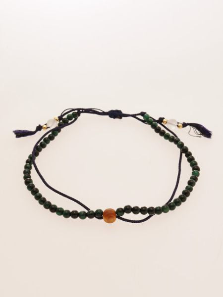 Silk String KUMIHIMO Braid Anklet Green Tiger Eye -Anklets-Ametsuchi