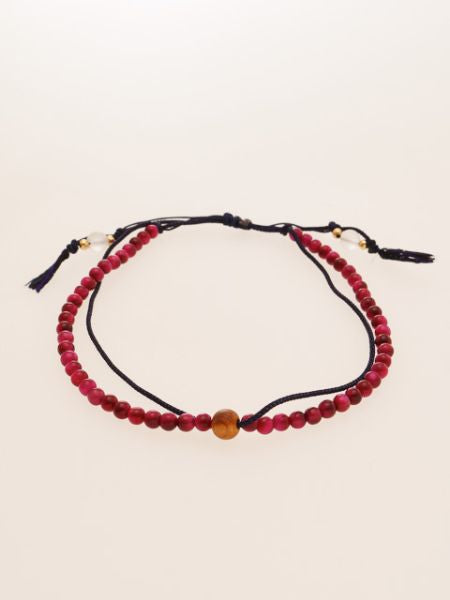 Silk String KUMIHIMO Braid Anklet Rose Tiger Eye -Anklets-Ametsuchi