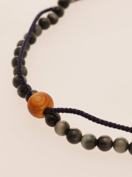 Silk Code Braided Anklet with White Tiger Eye-Anklets-Ametsuchi