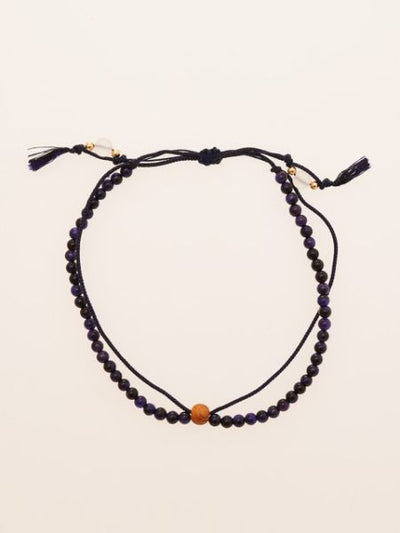Silk String KUMIHIMO Braid Anklet Purple Tiger Eye