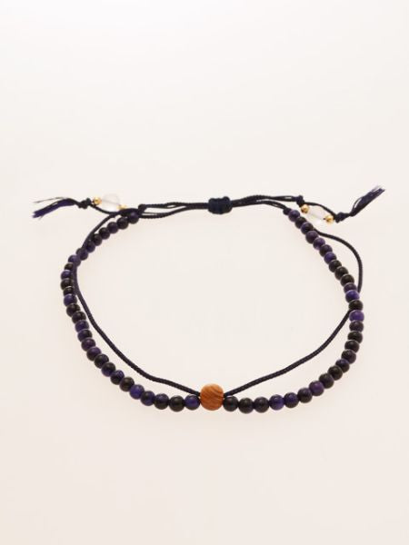 Silk String KUMIHIMO Braid Anklet Purple Tiger Eye-Anklets-Ametsuchi