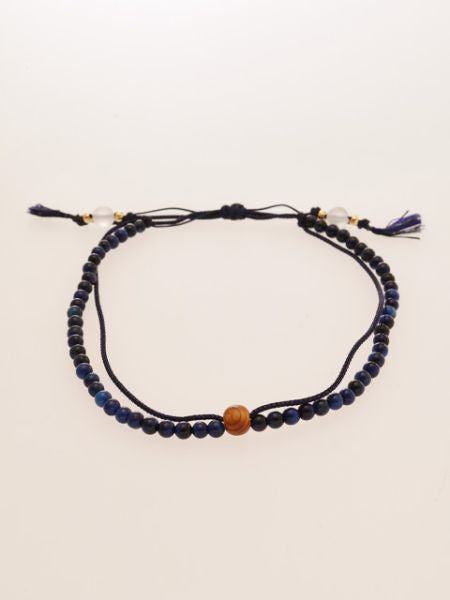 Silk String KUMIHIMO Braid Anklet Lapis Tiger Eye-Anklets-Ametsuchi