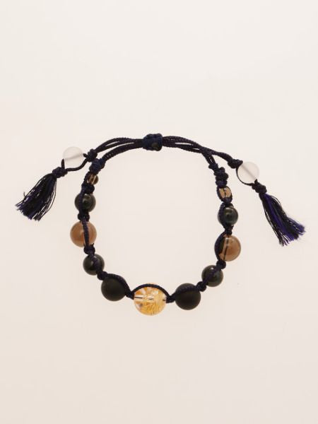 Gold Dragon Engraved Crystal x Blue Tiger Eye Bracelet