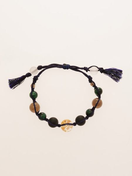 Gold Dragon Engraved Crystal x Green Tiger Eye Bracelet