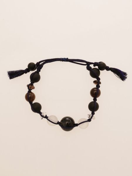 Frosty Black Agate x Blue Tiger Eye Braid Bracelet-Bangles & Bracelets-Ametsuchi