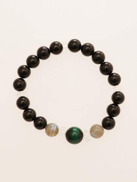 Green Tiger Eye x Black Onyx Bracelet-Ametsuchi