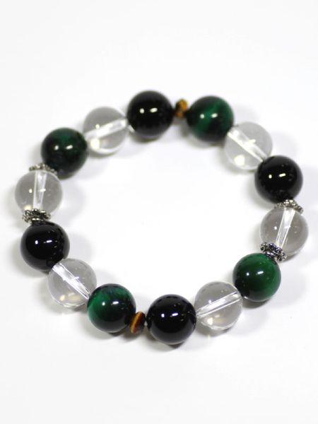 Tiger Eye x Onyx Beaded Bracelet-Ametsuchi