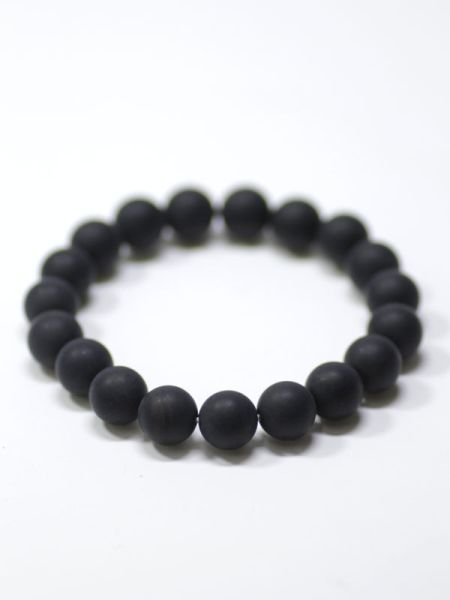 10mm Frosty Black Onyx Beads Bracelet
