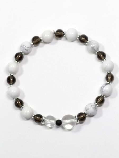 8mm Smokey Quartz Mixed Bracelet-Bangles & Bracelets-Ametsuchi