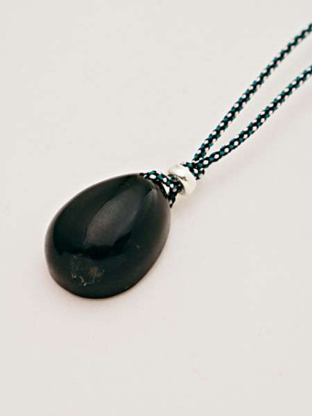 Black Crystal Silk Braid Necklace-Necklaces-Ametsuchi