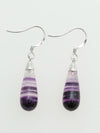 Purple Fluorite Drop Earrings-Ametsuchi