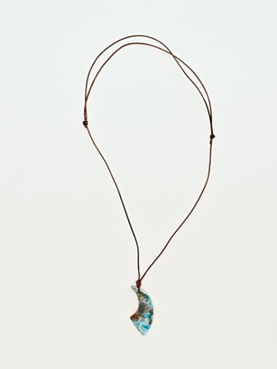 Natural stone wide horn necklace -Necklaces-Ametsuchi