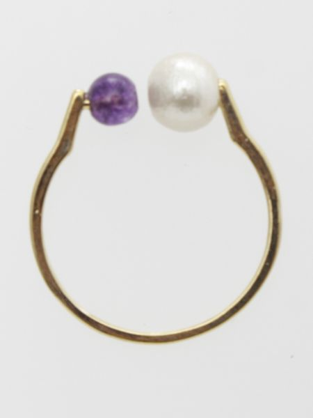 Cotton Pearl x Gemstone Ring