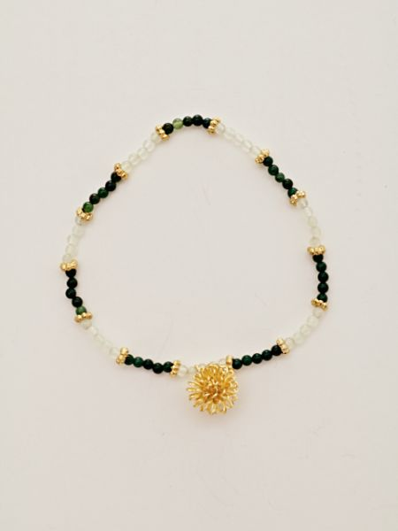 2mm Bead Gemstone x Wirework Chrysanthemum Bracelet