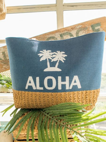 Spangle ALOHA Denim Tote Bag