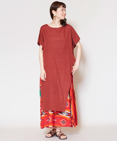 Navajo Pattern x Plain Layered One Piece Dress