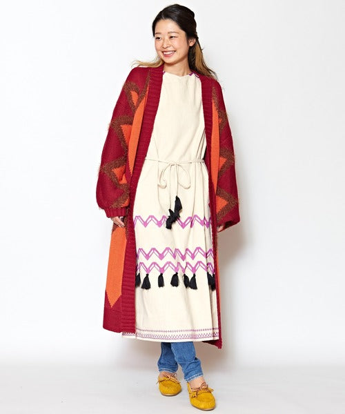 Geometrical Pattern Long Knit Cardigan