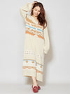 Navajo Pattern Jacquard Knit Dress-Ametsuchi