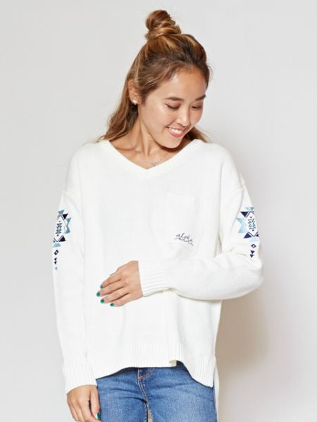 Navajo Pattern Embroidery V Neckline Top