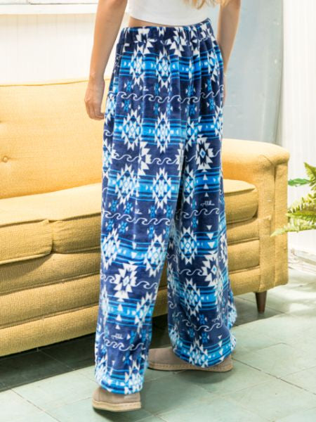 Navajo Pattern Fleece Pants-Ametsuchi