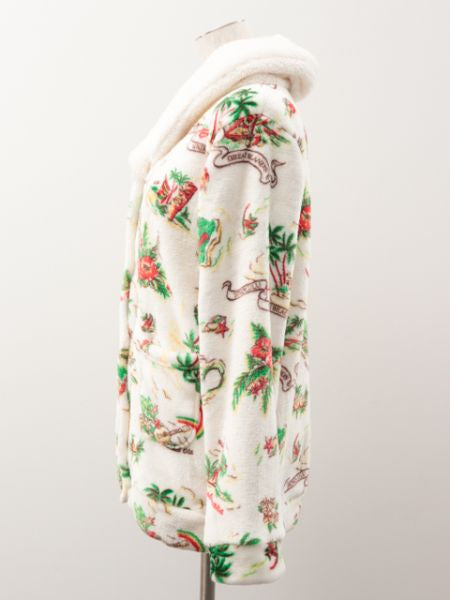 Hawaiian Motif Fleece Cardigan-Ametsuchi