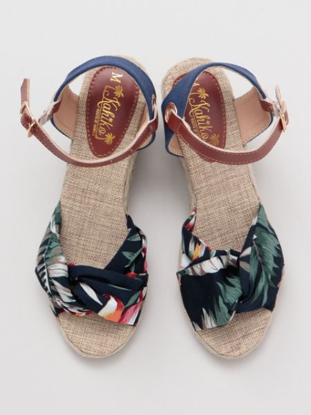 Botanical Pattern Strappy Wedge Sandals