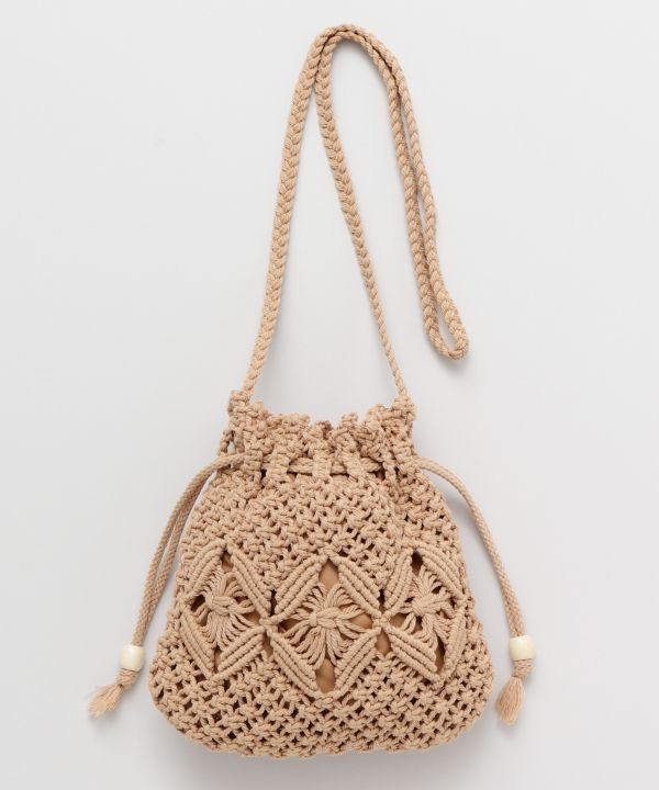 MACRAME Drawstring Shoulder Bag-Bags & Purses-Kahiko- Ametsuchi
