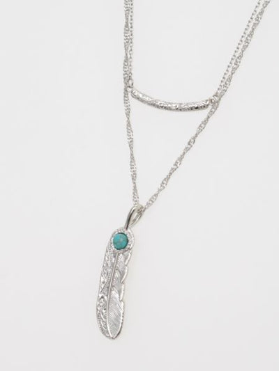 Metal Feather Charm Twin Necklace-Ametsuchi
