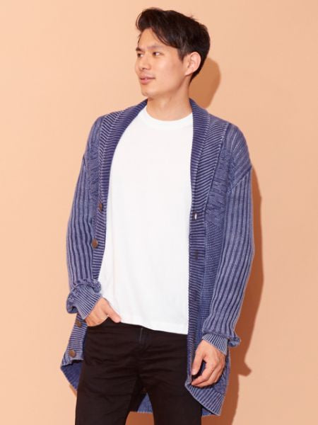 Washed Cotton Knit Cardigan-Cardigans & Outerwear-Ametsuchi