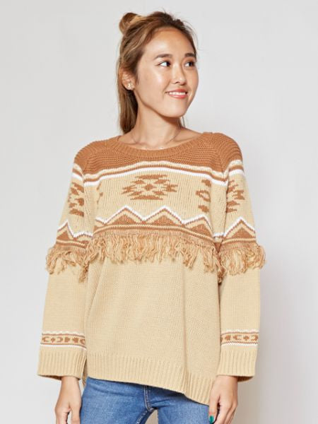 Navajo Pattern Fringe Knit Top
