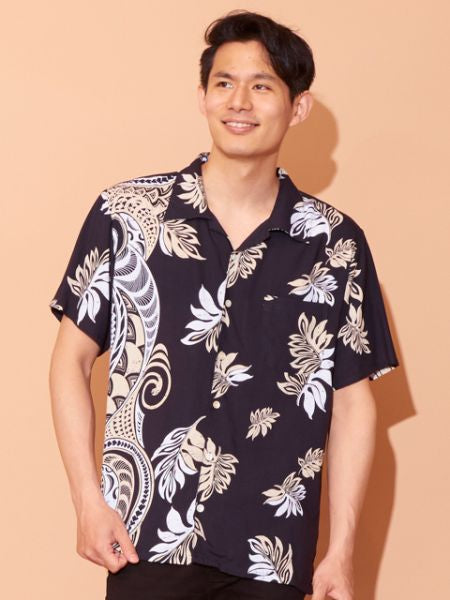 Tribal Leaf Pattern Hawaiian Shirt-Shirts-Ametsuchi