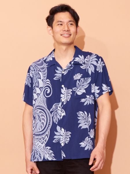 Baju Hawaii Corak Daun Tribal