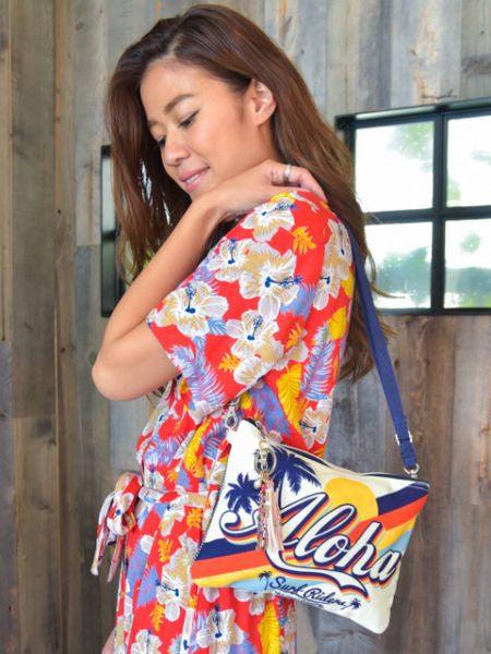 Vintage Hawaiian Print Shoulder Bag-Ametsuchi