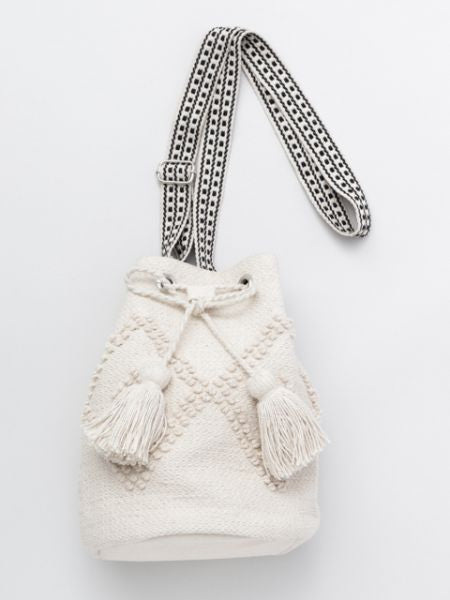 Woven Cotton Bucket Shoulder Bag