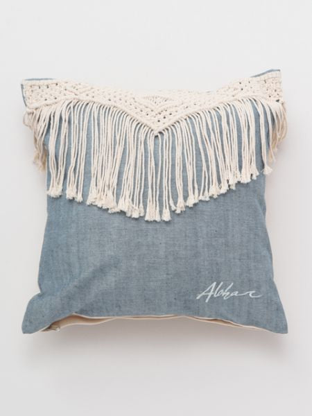 Macrame Denim Pillow Cover