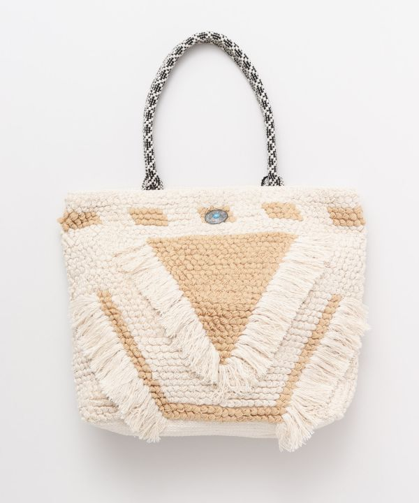 Loop Knitting Fringe Tote Bag-Bags & Purses-Kahiko- Ametsuchi