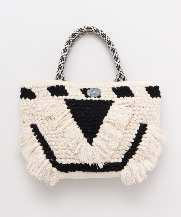Loop Knitting Fringe Hand Bag