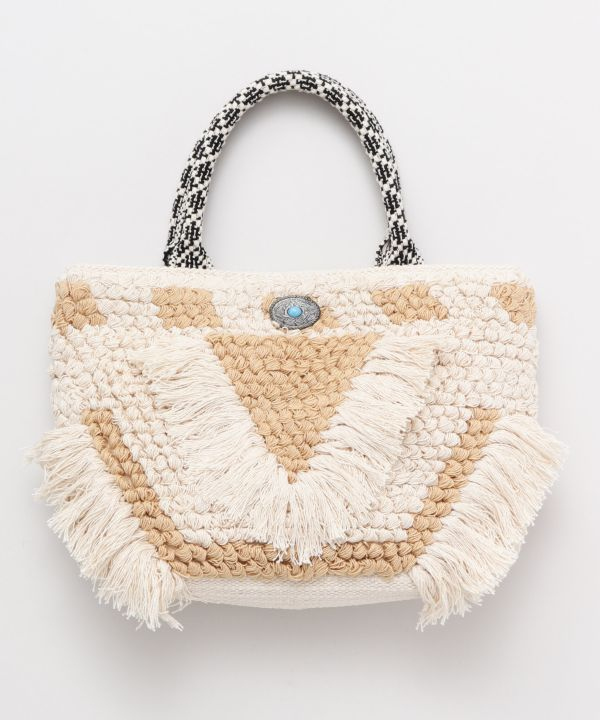 Loop Knitting Fringe Hand Bag-Bags & Purses-Kahiko- Ametsuchi
