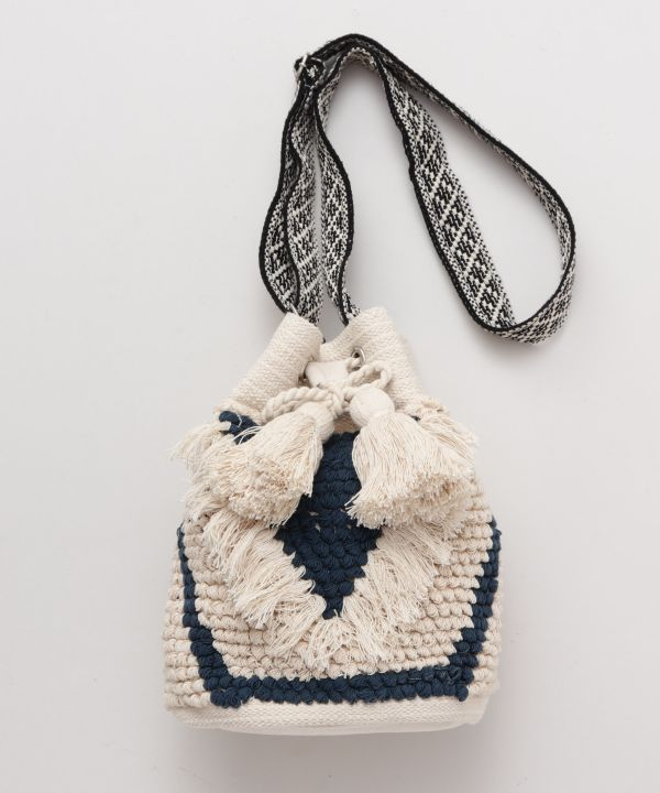 Loop Knitting Fringe Shoulder Bag-Bags & Purses-Kahiko- Ametsuchi