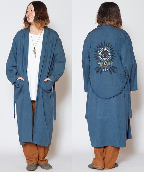 Native American Motif Embroidered Long Cardigan