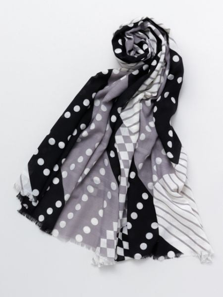 Dot, Stripe & Square Shawl-Ametsuchi