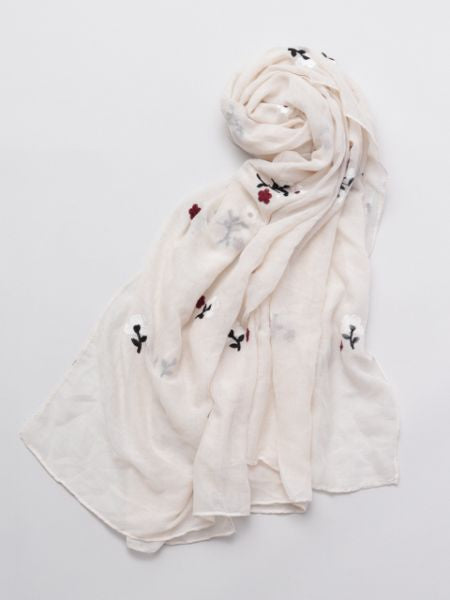 Flower Embroidered Stole | Scarf-Scarves-Ametsuchi