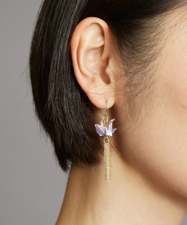Flying ORIGAMI Crane Earrings-Earrings-Ametsuchi