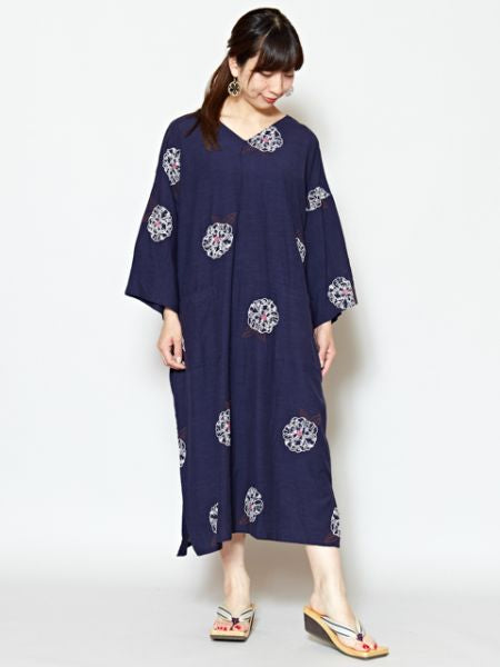 Camellia Embroidered V Neckline Kaftan Dress