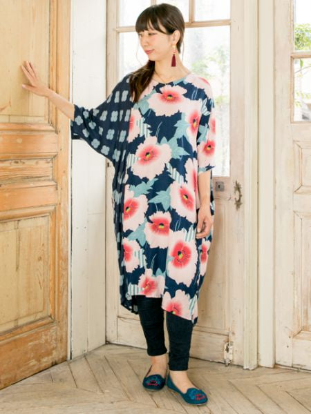 Hollyhock Floral Kaftan Dress-Ametsuchi