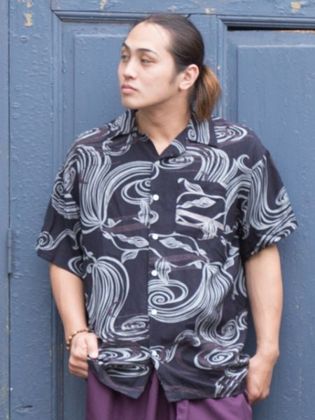 Japanese Motif Men's Collar Shirt-Ametsuchi