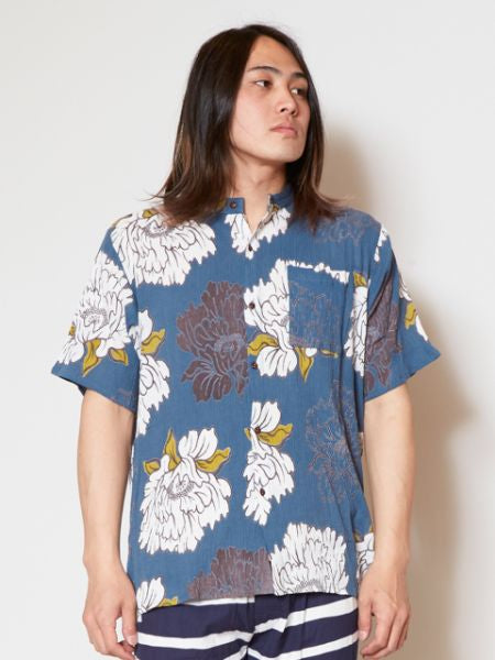 Japanese Motif Band Collar Shirt-Ametsuchi